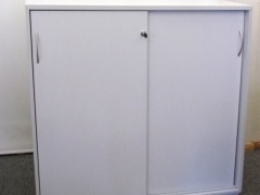 abschließbares Sideboard für 3 Ordnerhöhen, grau
